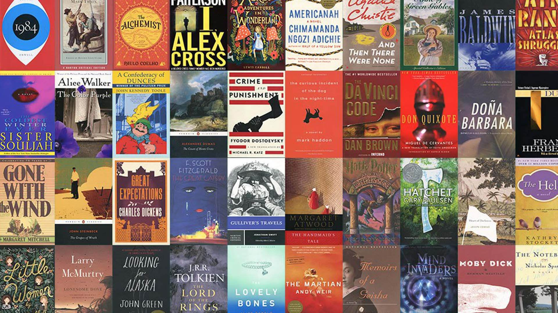 Collage of book covers from books featured in PBS' Great American Read 2018.