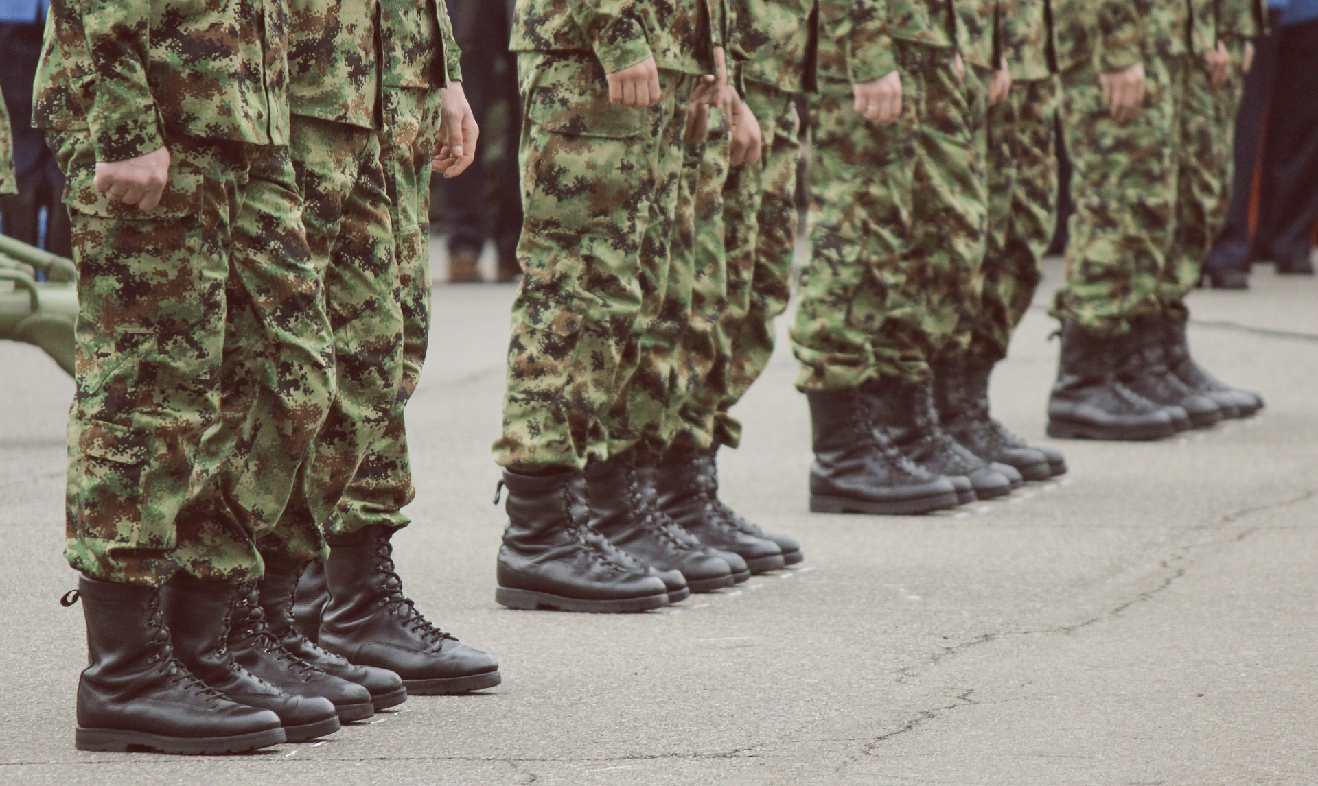 Soldiers feet in uniform.