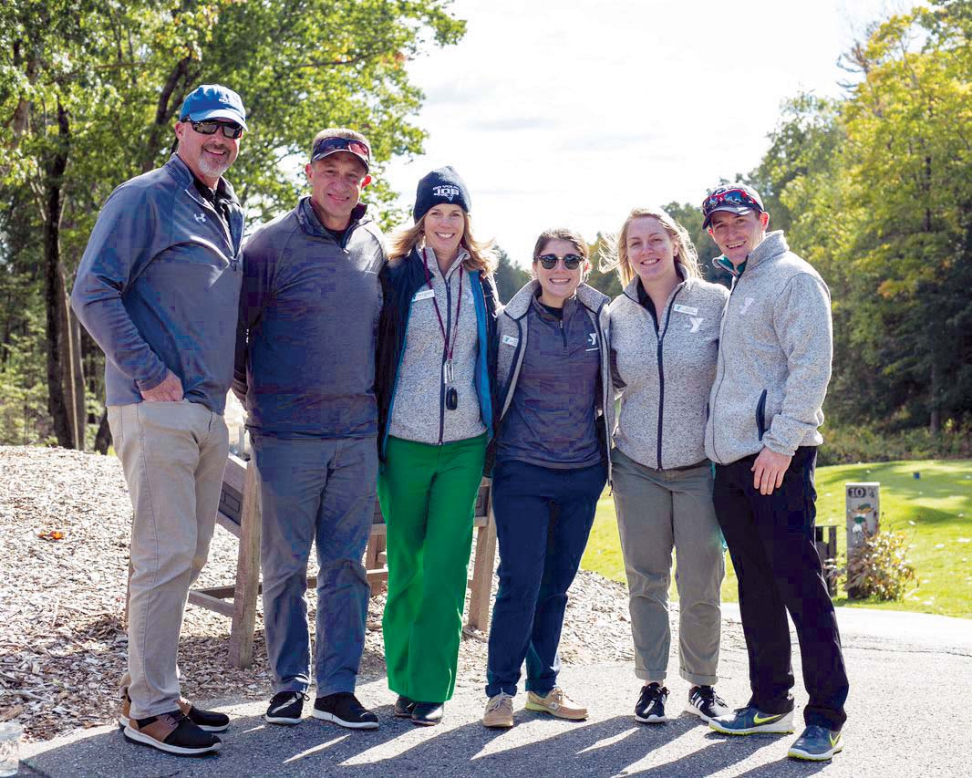 Golfers in the Hampshire Regional YMCA Golf Tournament include, from left, Pat Consedine, Jeff Hyde, Julie Green Bianco, Nicole Prucnal, Molly Keays, and Jon Scully.