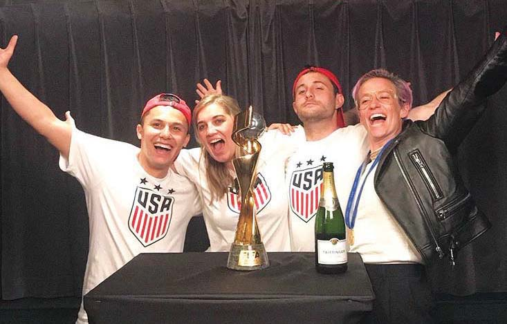 Sam Zapatka, third from left, with U.S.A. Women's Soccer stand-out Megan Rapinoe, right