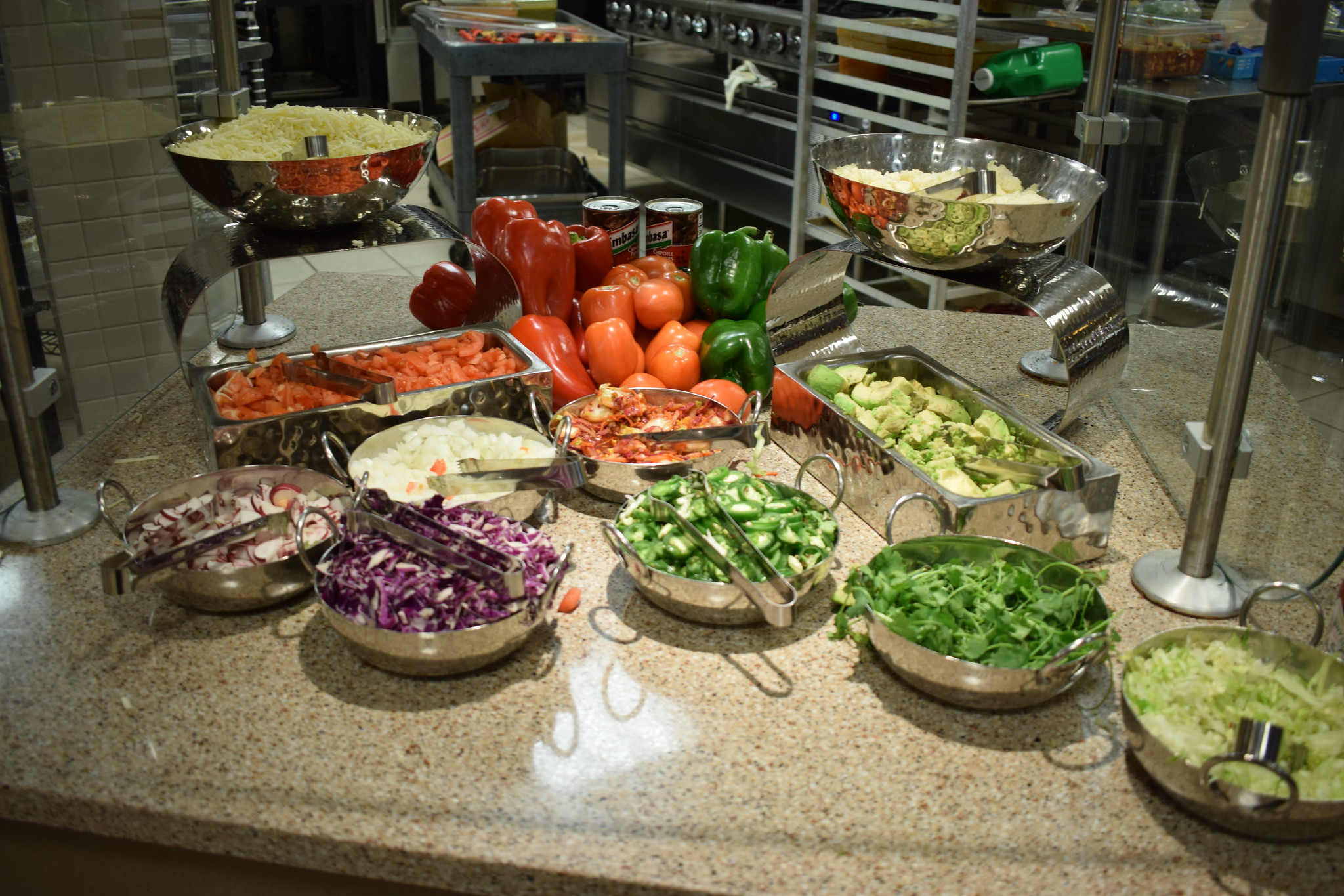 Vegetables on display at Springfield College dining hall