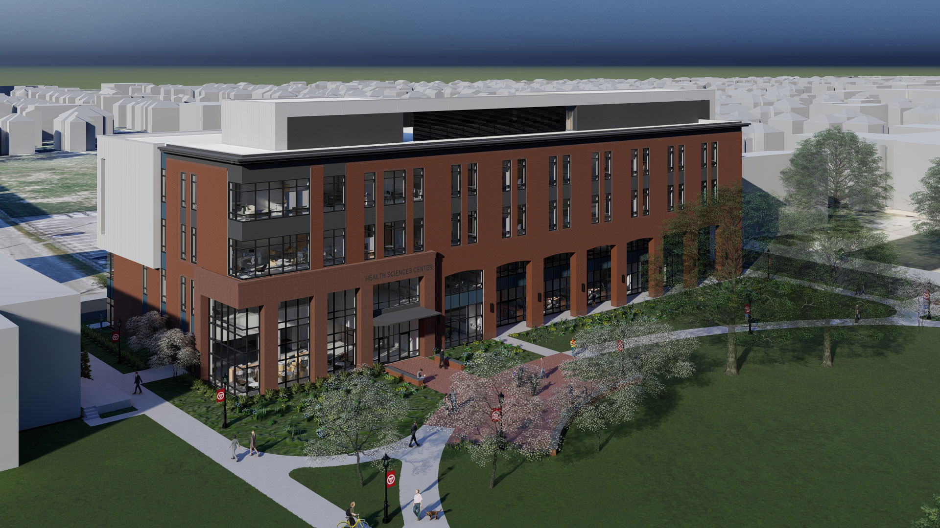 An architect rendering of the Health Science Center at Springfield College
