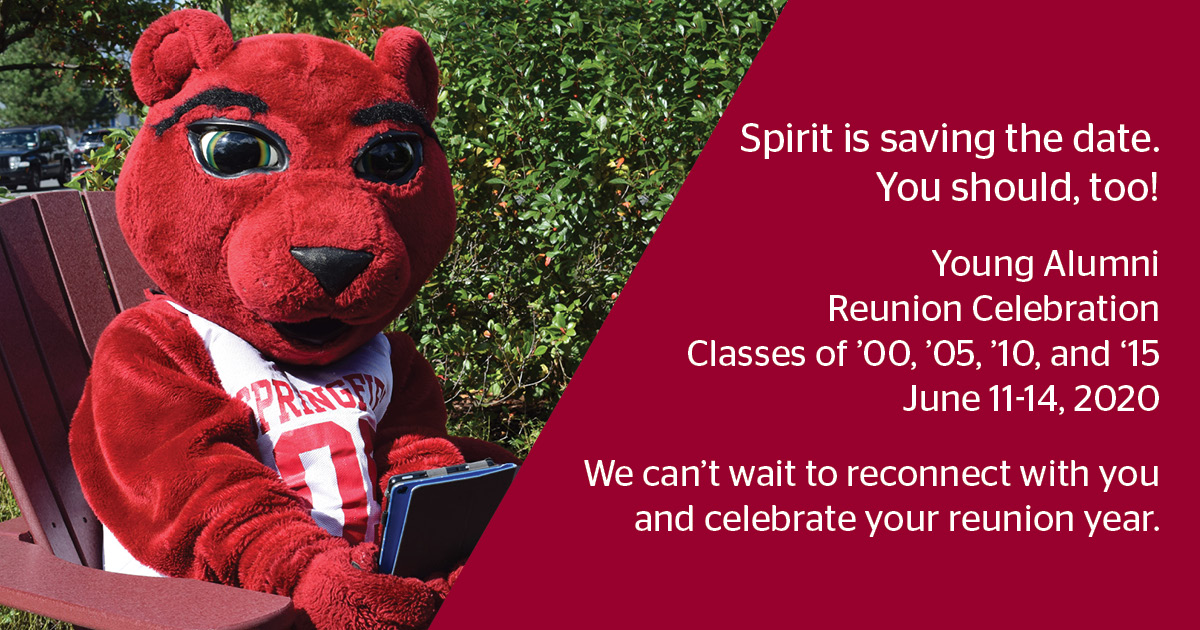 Spirit saving the date for the Young Alumni Reunion Celebration