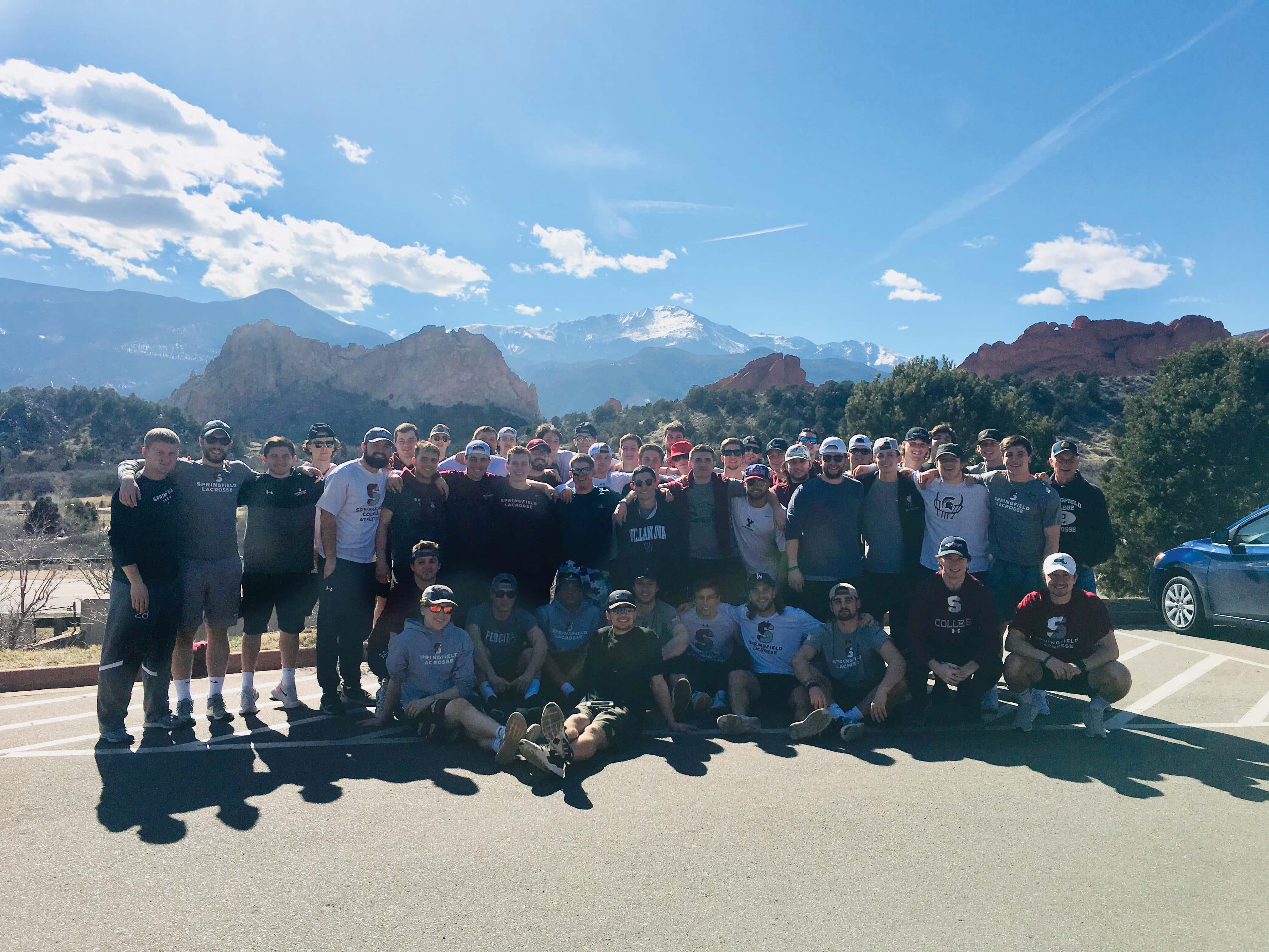 Men's lacrosse team in Colorado during spring break 2019