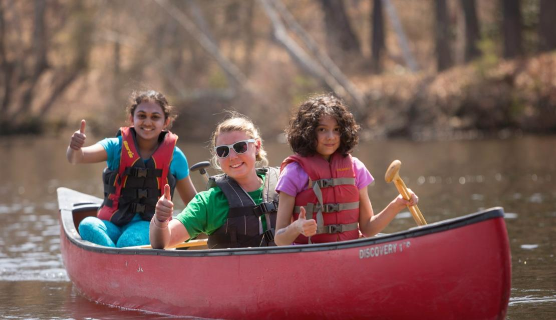 Spring Explorers canoeing on Lake Massasoit