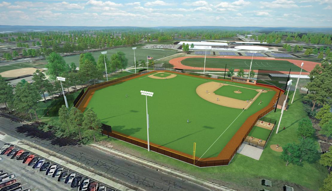 3D rendering of the new baseball facility at Springfield College