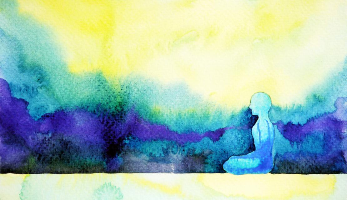 Watercolor of person meditating.