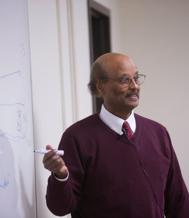 Professor Mulugeta Agonafer, PhD teaching a class