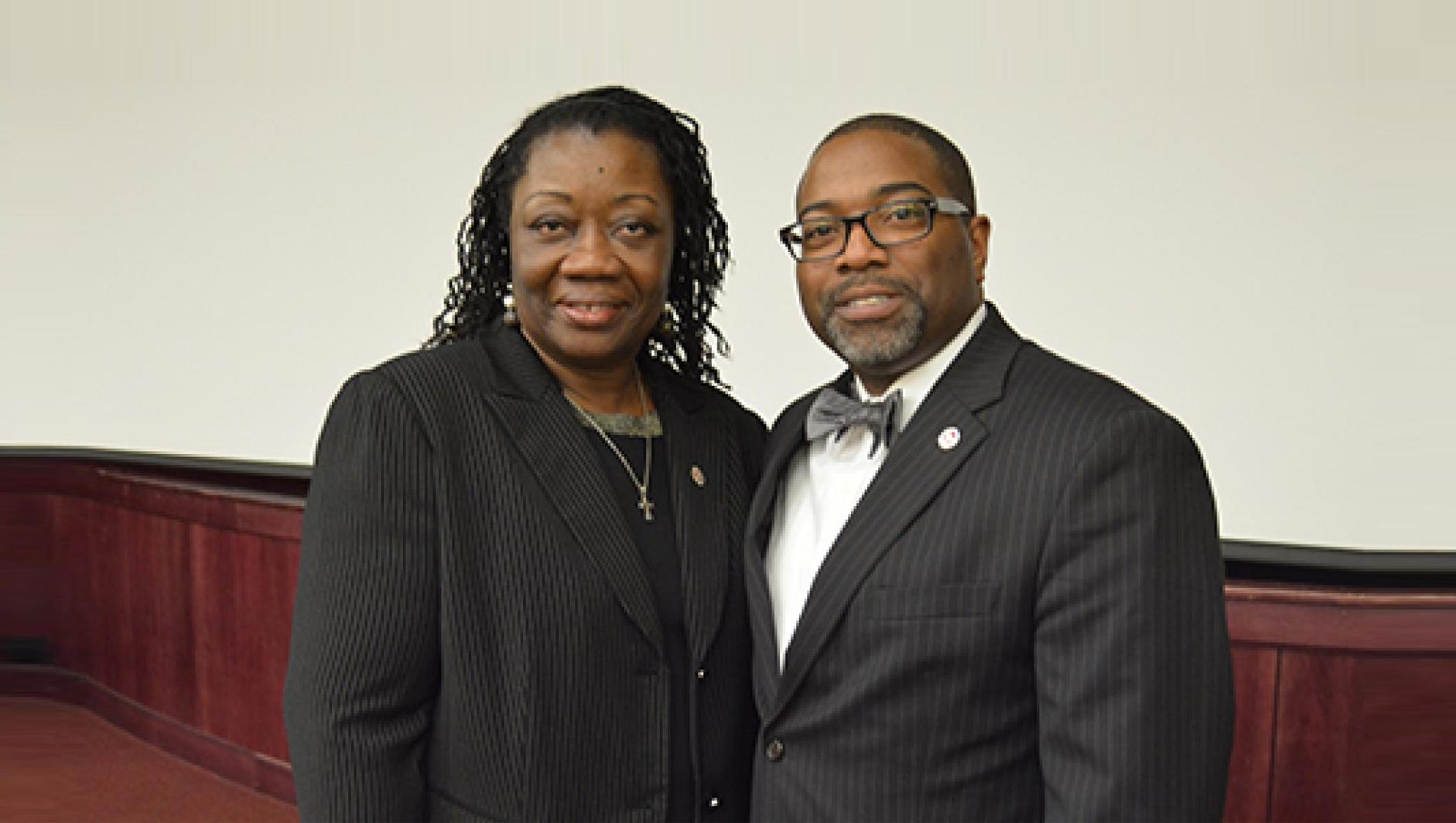 At left, Elsie Wallace Smalls and Calvin R. Hill, PhD, vice president for inclusion and community engagement at Springfield College.