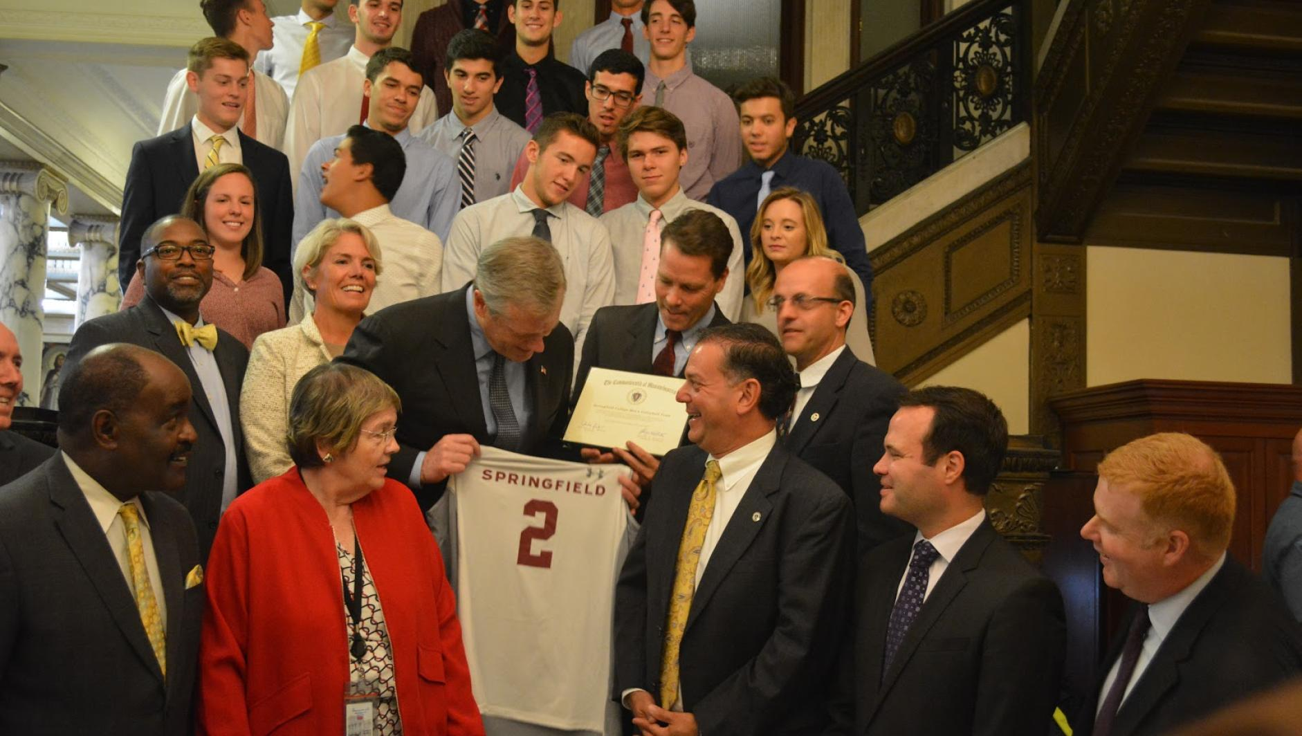 Governor Charlie Baker with Springfield College volleyball jersey
