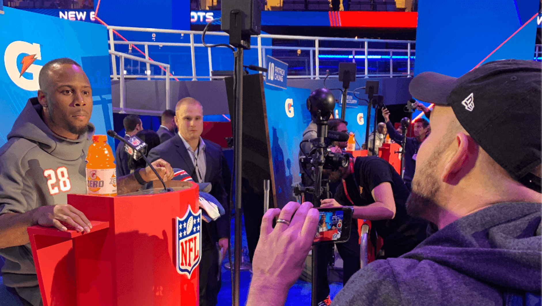 Professor Kyle Belanger on Radio Row at the NFL Super Bowl LIII.