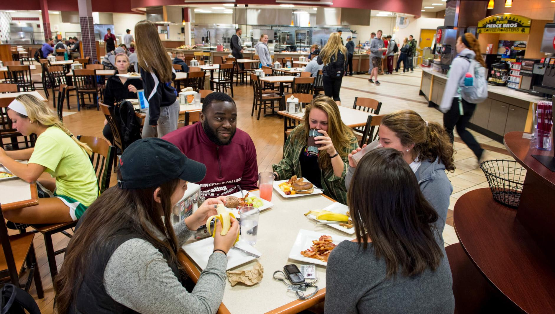Students eating in Cheney Dining Hall.