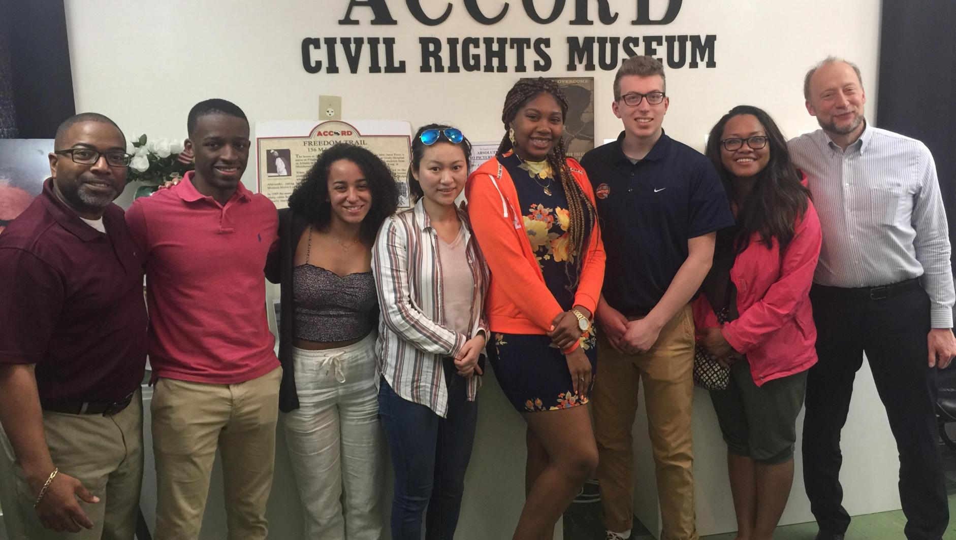 Students pose in the Accord Civil Rights Museum