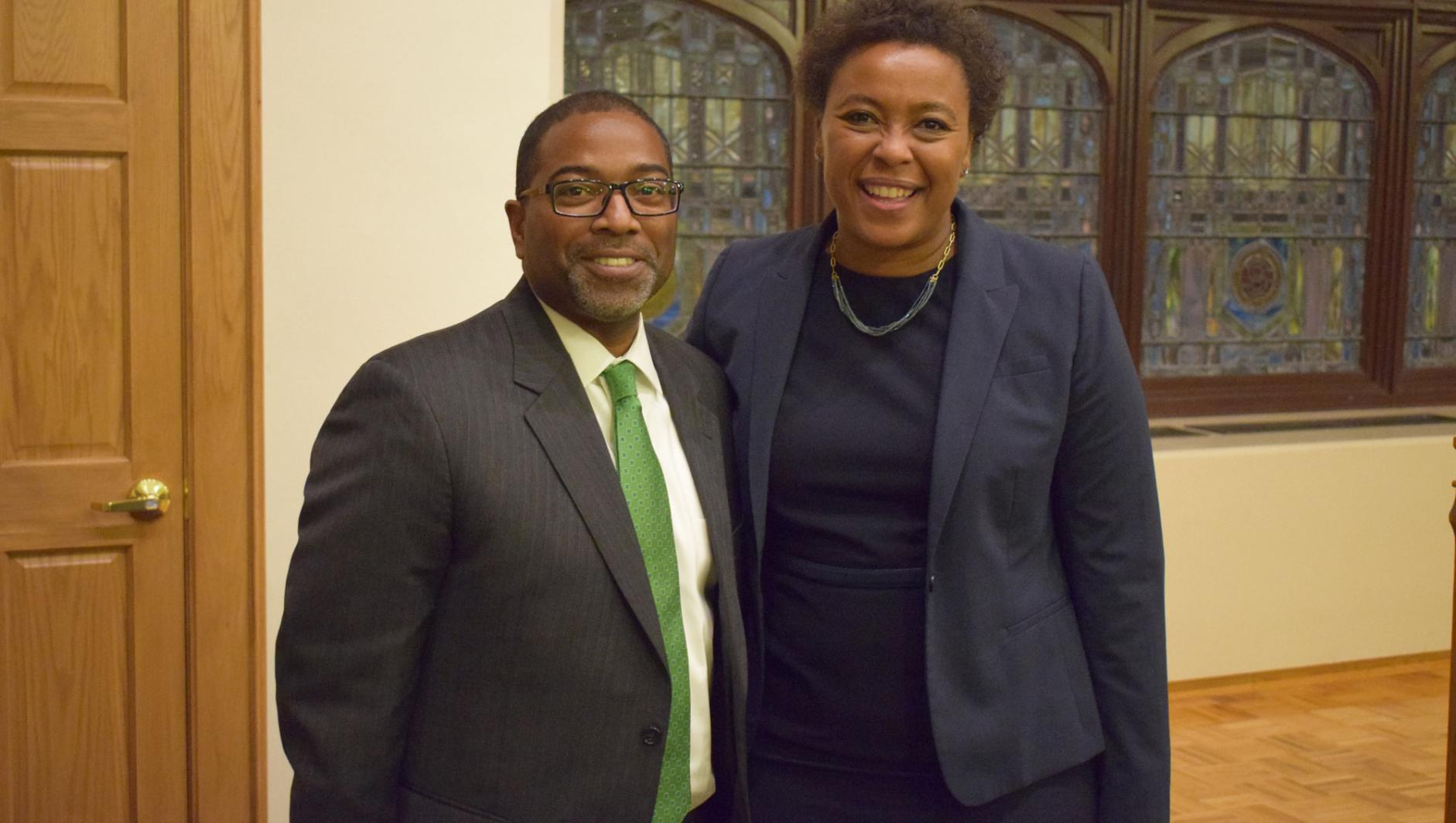 Massachusetts Rep. Nika Elugardo with Dr. Calvin Hill