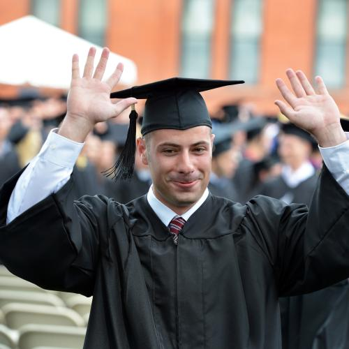 A Springfield College student happy at that he's graduating