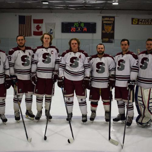Some of the hockey team on the ice