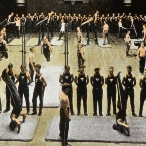 An image from 1920 of building sound bodies in the Springfield gym.