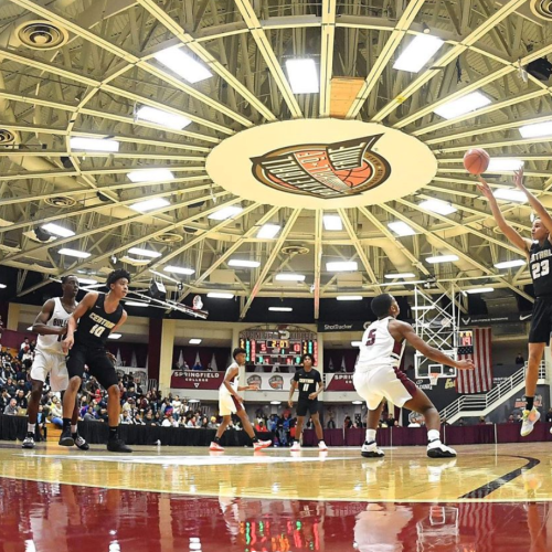 A wide framed shot of a basketball game at Hoophall 2020.