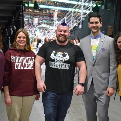 Rob Kearney '14, G'15 and Springfield College staff and alumni at Heroes Among Us at Celtics Pride Night