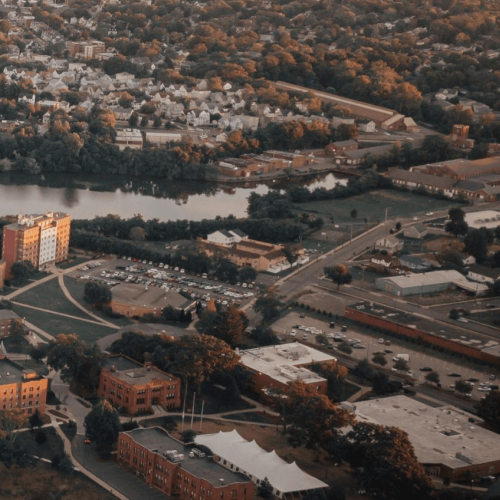 Aerial fall view of the Springfield College campus