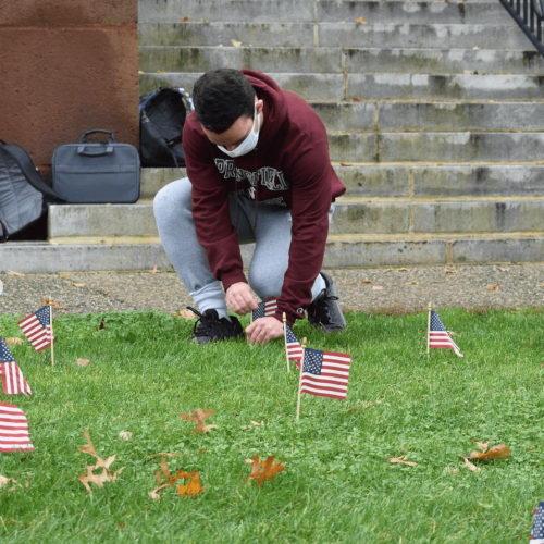A student kneels down to plant a flag on the green for veteran's day