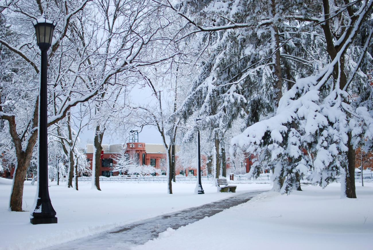 Student Bryttnie Thomas captured this stunning photo of the Flynn Campus Union on a snowy day