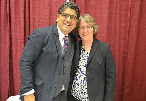Author Sherman Alexie poses with Dean Anne Herzog at the Arts and Humanities Speaker Series.
