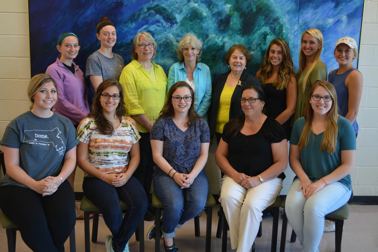 At center, Springfield College Associate Professor of Occupational Therapy Joan Simmons with students.