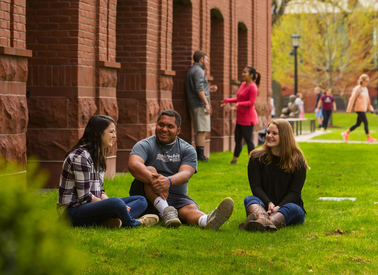 Student enjoy time in front of the Flynn Campus Union.