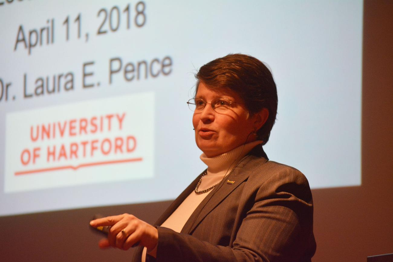 The Springfield College Department of Biology and Chemistry presented the 21st annual Britton C. and Lucille McCabe Lecture featuring Laura Pence, PhD, on Wednesday, April 11, in the Appleton Auditorium in the Fuller Arts Center.