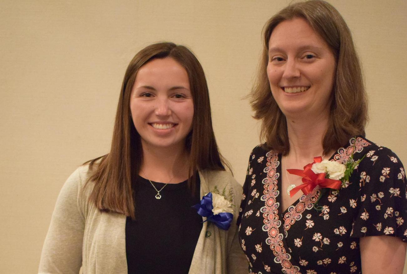 Springfield College Associate Professor of Physical Education Michelle Moosbrugger and Physical Education and Health Education major Danielle Sweet were recognized at the recent 2018 Massachusetts Association for Health, Physical Education, Recreation and Dance (MAHPERD) awards banquet.