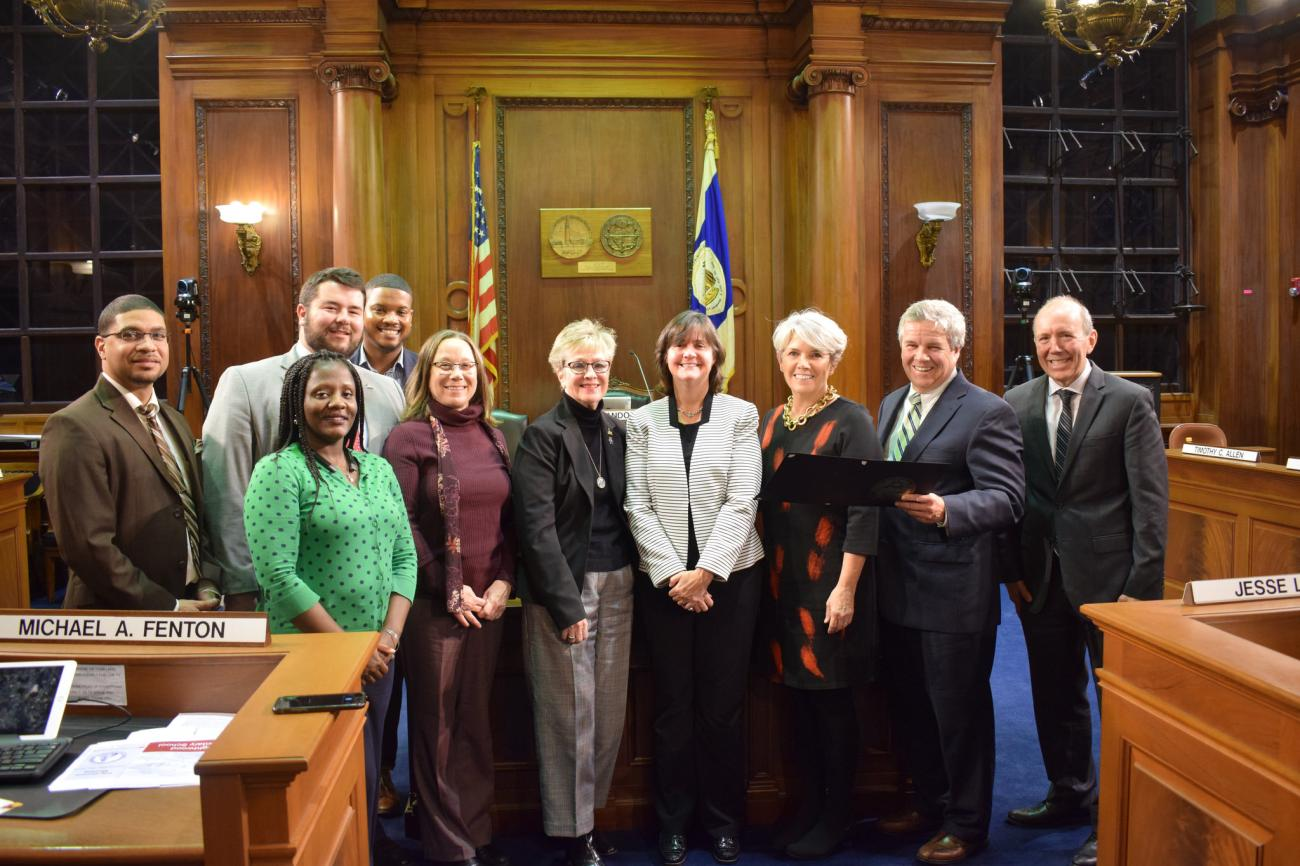 Springfield College professor of exercise science and sport studies Sue Guyer and Springfield College were honored with a Proclamation at the Springfield City Council Meeting on October 22, 2018.