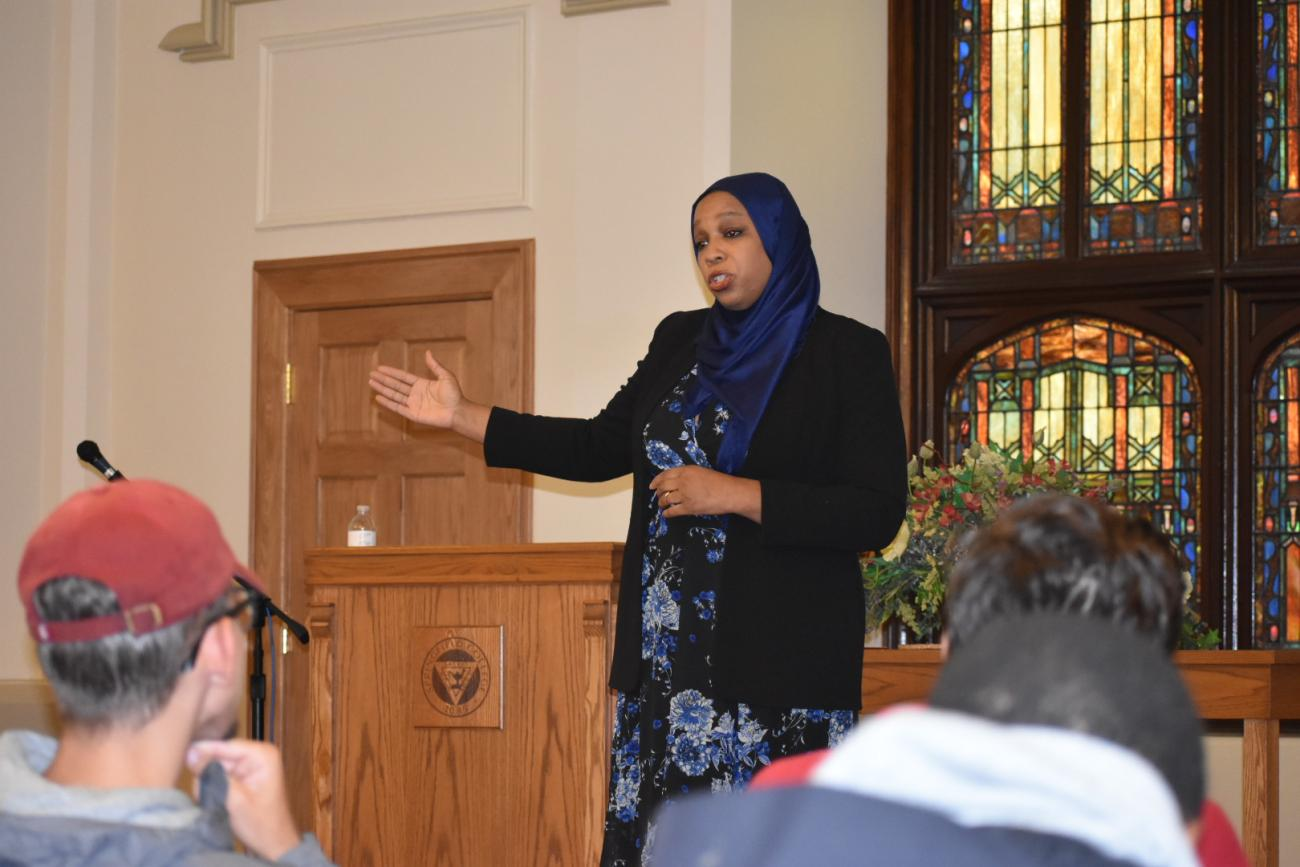 Springfield College welcomed Tahirah Amatul-Wadud to the campus on Monday, Oct. 15, in the Marsh Memorial Chapel.