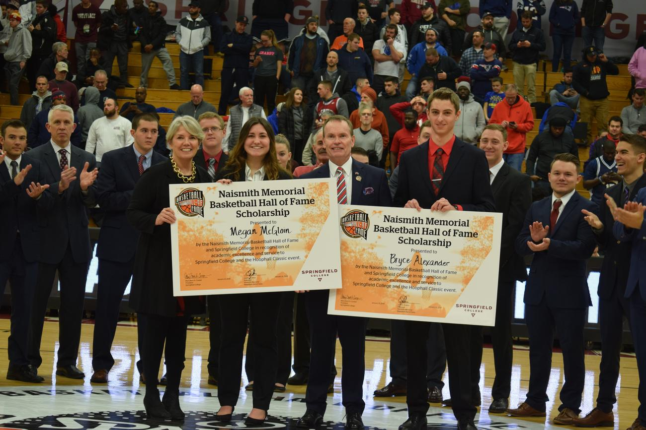 Springfield College and the Naismith Memorial Basketball Hall of Fame presented the seventh annual Naismith Memorial Basketball Hall of Fame Scholarship to Springfield College sport management students Bryce Alexander and Megan McGloin.
