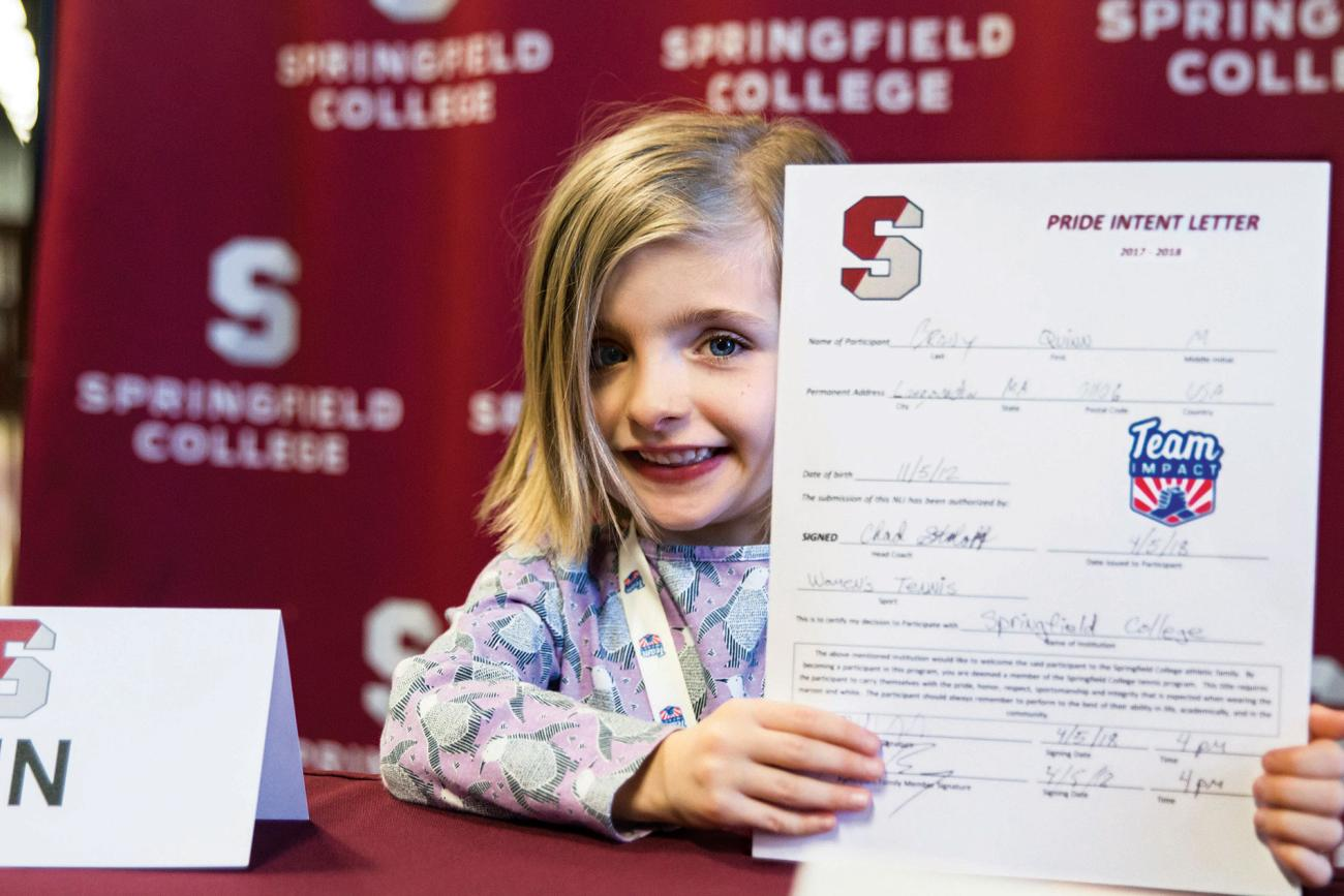 Team IMPACT participant Quinn Brady signs with Springfield College Women's Tennis.