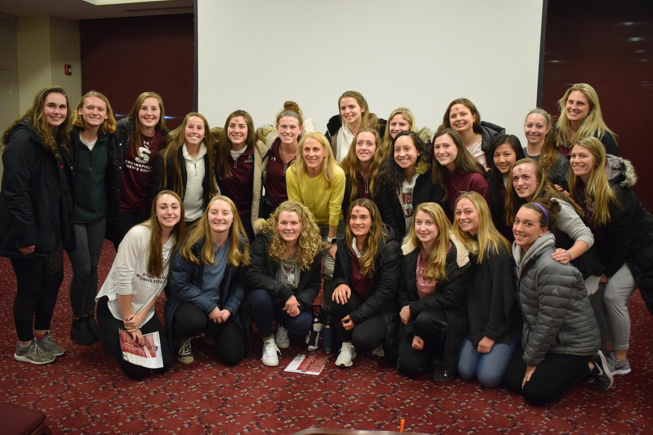 The Springfield College School of Health, Physical Education, and Recreation welcomed U.S. women's soccer legend Kristine Lilly, and University of Massachusetts Lowell Associate Professor of Political Science Jeffrey Gerson to campus to discuss the U.S. Women's National Soccer Team and the Fight for Gender Equity, on Wednesday, March 6.