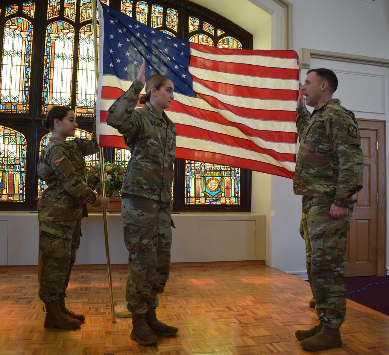 In a recent ceremony on campus recognizing the ROTC grants, Springfield College junior and ROTC scholarship recipient Madelyn Reppucci was recognized at an official ROTC signing and swearing-in ceremony in the Marsh Memorial Chapel.