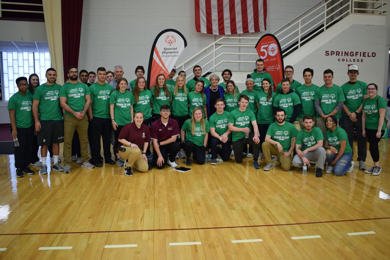 The Springfield College Department of Sport Management and Recreation, in collaboration with the Special Olympics of Massachusetts, hosted its annual volleyball tournament at Blake Arena and the Field House inside the Wellness and Recreation Complex on Sunday, April 28.