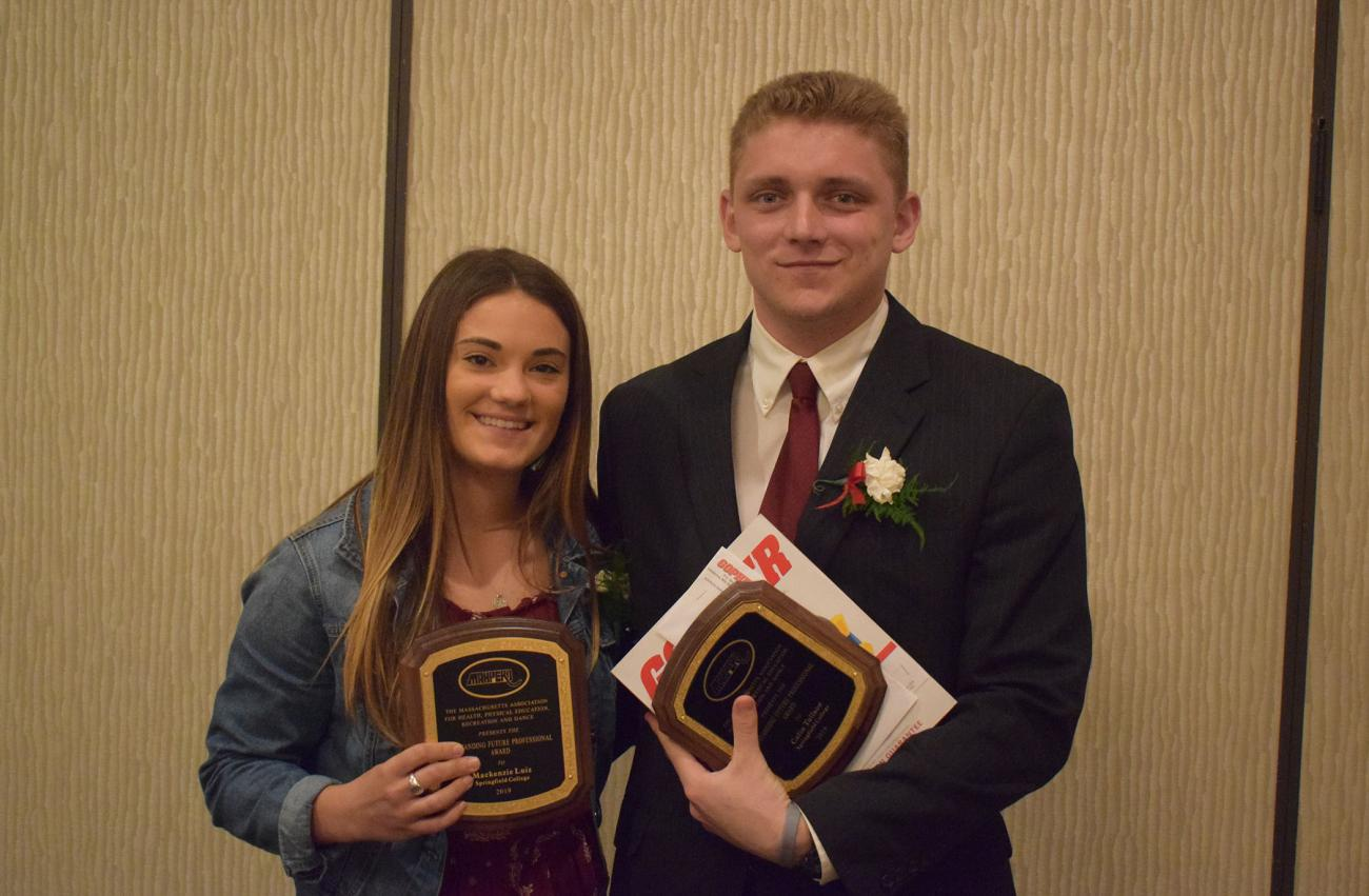 Springfield College Physical Education and Health Education students Mackenzie Luiz and Colin Tullson each were named as Outstanding Future Professional Award recipients.