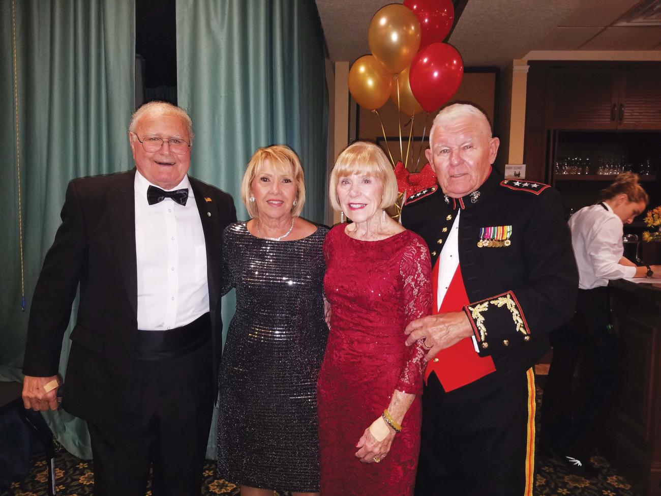Norma '57 and Lt. Gen. Bob Winglass '57, USMC Ret. were joined by  Bob Pataky '57 and his wife, Nancy, at the Military Ball held at Indian River Colony Club in Viera, Fla.