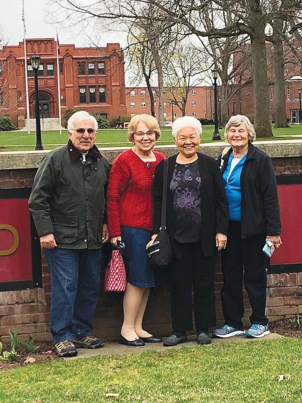Jenny Ogata Yoshizumi '61, third from left, recently traveled from Hilo, Hawaii, to visit her former classmates in Granby, Conn. From left are George Galiatsos '61, G'65, Magda Galiatsos, Yoshizumi, and Susan Barstow Thomas '61.