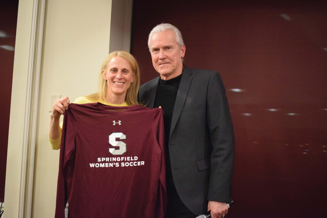 U.S. soccer legend Kristine Lilly and Springfield College Head Women's Soccer Coach John Gibson