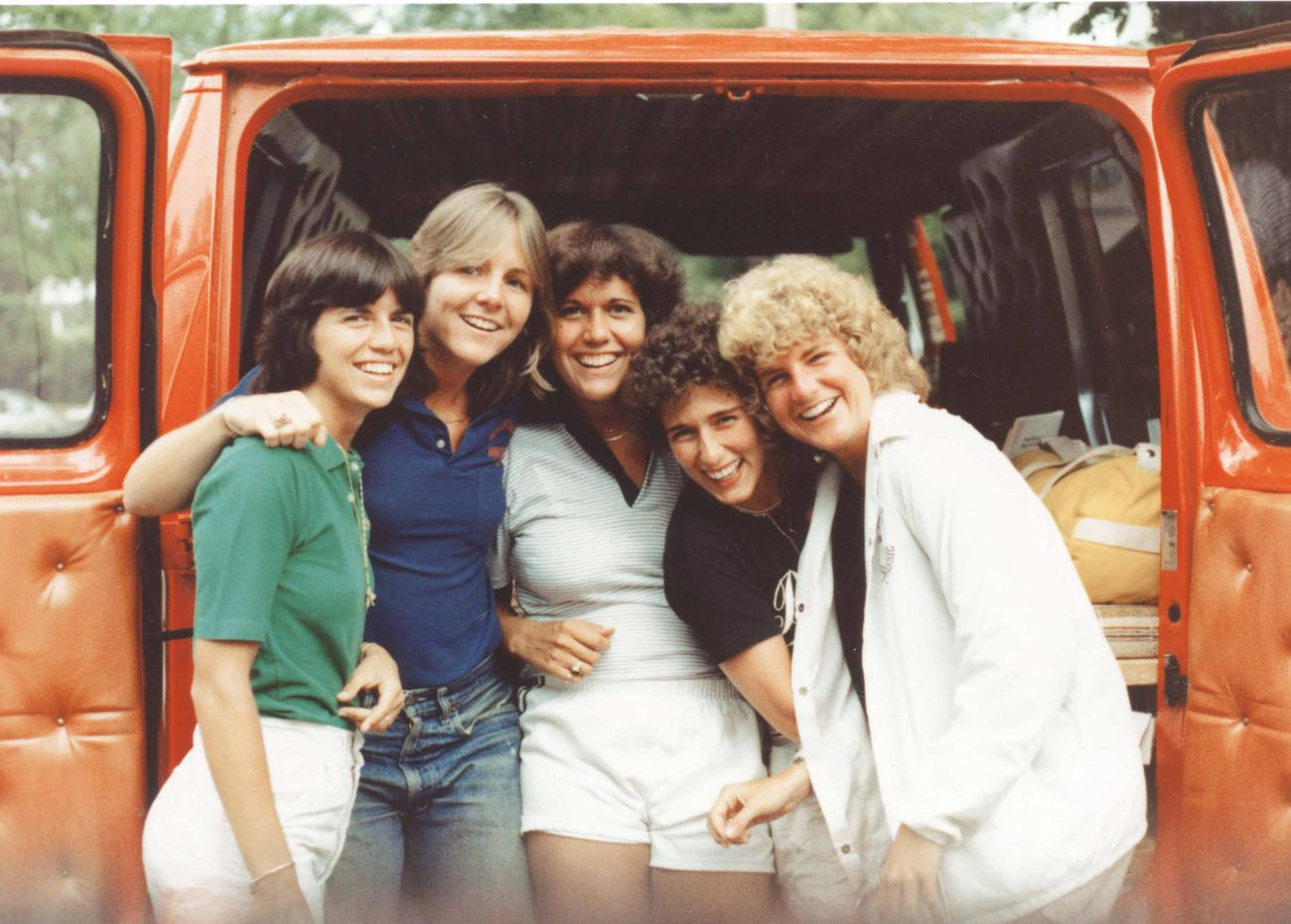 Mary Jane De Souza, from left, Emily Huntington, Judy Howe, Lisa Sabbatino, and Joan Quinlan embark on their cross-country trip.