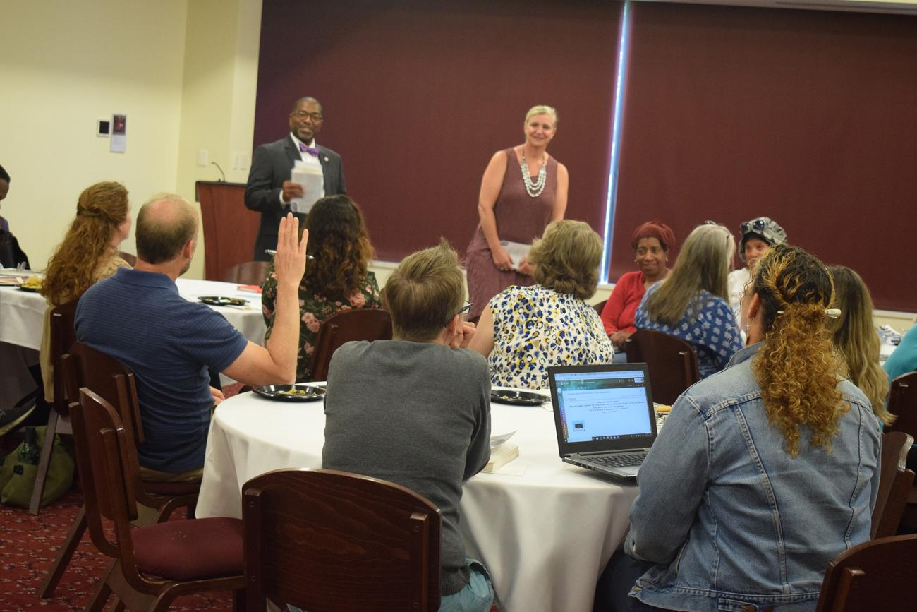 On Wednesday, September 11, Springfield College Vice President for Inclusion and Community Engagement Calvin Hill and Springfield College Counseling Program Director Allison Cumming-McCann hosted a luncheon and discussion surrounding Debby Irving's upcoming lecture at Springfield College.