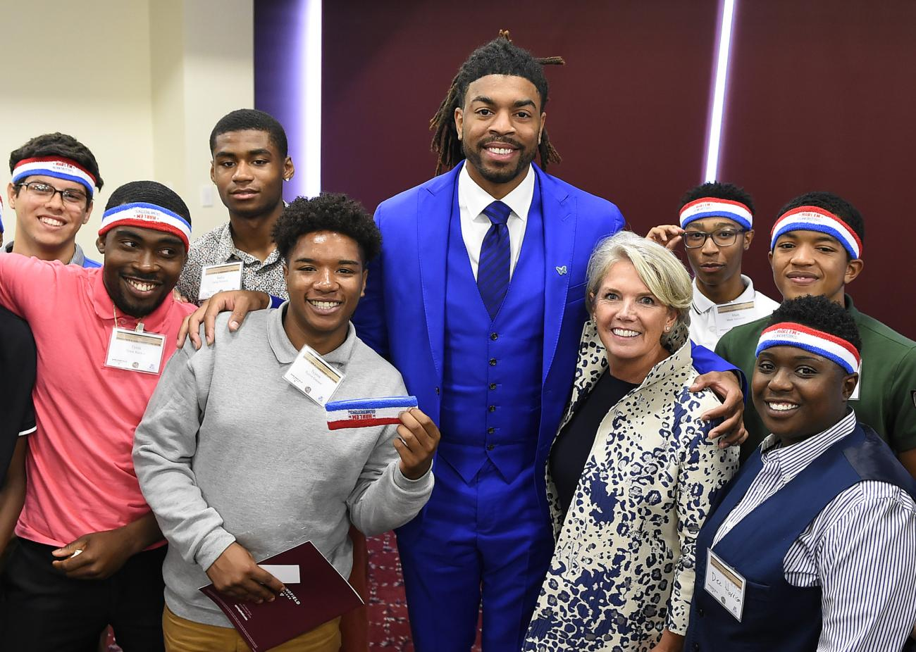 As part of the 2019 Springfield College Education and Leadership Luncheon, members of the Harlem Globetrotters met with local high school students.