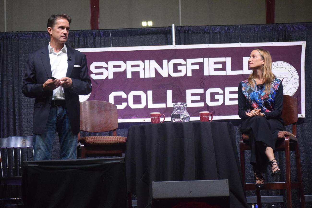 "Springfield College hosted deep ocean explorer and environmentalist Fabien Cousteau, left, and explorer and filmmaker Céline Cousteau, right, for an evening entitled, ""One Ocean, One People: The Cousteau Legacy and a Call for Environmental Action,"" on Thursday, Oct. 24."