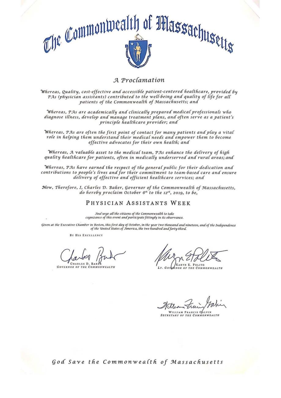 A Proclamation from Gov. Charles Baker of Massachusetts declaring PA Week in 2019