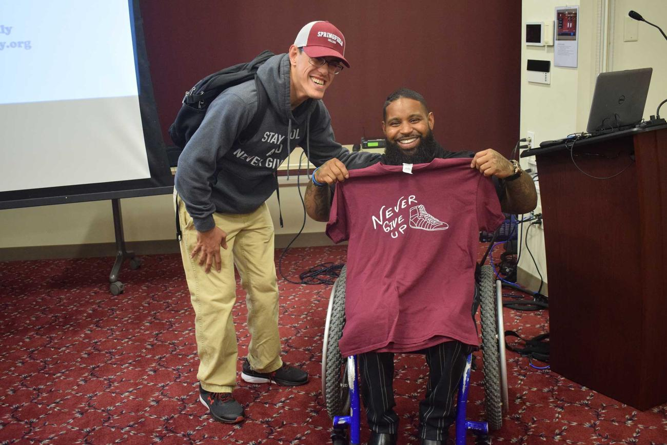 Springfield College welcomed inspirational speaker, philanthropist, and adaptive bodybuilder Wesley Hamilton to the campus on Tuesday, Oct. 8, 2019, in the Cleveland E. and Phyllis B. Dodge Room in the Flynn Campus Union.