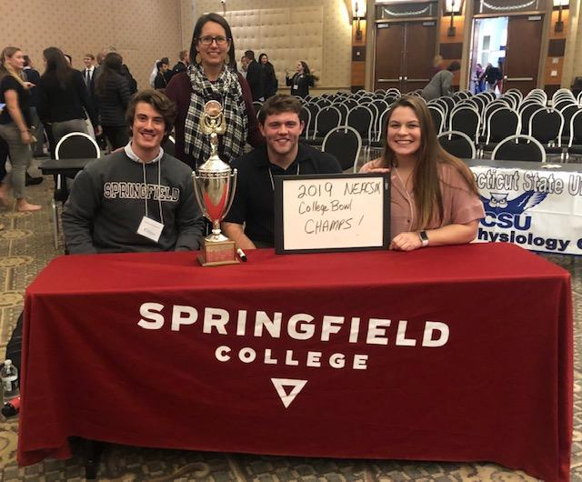 As a team, the Springfield College Applied Exercise Science students also earned first place in the Applied Exercise Science major's College Bowl, which consists of colleges competing in jeopardy style competition against more than 20 other institutions throughout New England. They will be competing at the National American College of Sports Medicine College Bowl competition in May of 2020 in San Francisco.