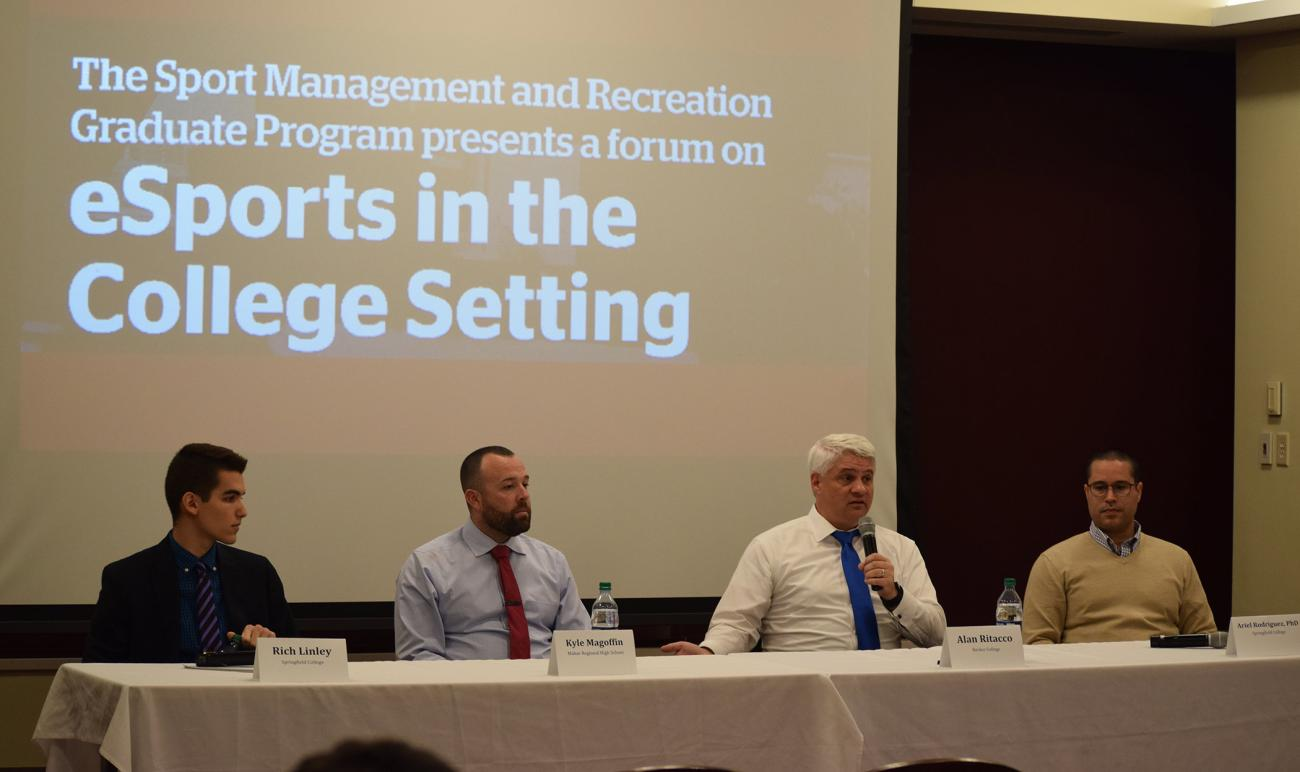 Sponsored by the Springfield College Sport Management and Recreation Graduate Program, a forum about eSports in the college setting was presented on Wednesday, November 20, in the Cleveland E. and Phyllis B. Dodge Room in the Flynn Campus Union.